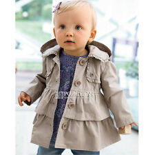 Kids Toddler Baby Hooded Ruffle Jacket Coat Parka Windbreaker Trench Outerwear
