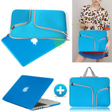Azure Blue Rubberized Case Cover +Sleeve Bag For Macbook Pro 13 Air 11 Retina 15