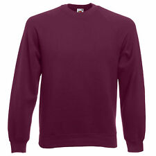 MENS & LADIES FRUIT OF LOOM SCREEN STAR CLASSIC RAGLAN SWEATSHIRTS - BURGUNDY