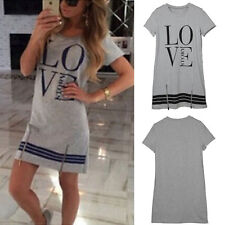 Summer BOHO Ladies Cotton Casual Long Tops Blouse Womens Love Printed Mini Dress