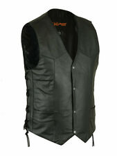 Mens Black Leather Classic Biker Motorcycle Vest w Side Laces