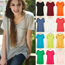 New Women Soft Casual Short Sleeve Oversized Loose Blouse Top T-shirt