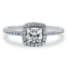 BERRICLE Sterling Silver 0.64 Carat Cushion Cut CZ Halo Promise Engagement Ring