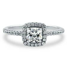 BERRICLE Sterling Silver Cushion Cut CZ Halo Promise Engagement Ring 0.64 Carat