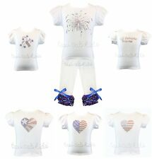 2 pc Patriotic Heart Flag Fireworks Princess Outfit 4th of July Party NWT 1-10 Y