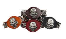 Wristband Genuine Leather Bracelet Men Women Skull Bracelet Cuff Bangle SLD086