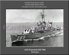 USS Eversole DD 789 Personalized Canvas Ship Photo Print Navy Veteran Gift