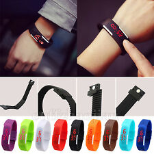 Red LED Watch Sport Bracelet Digital Wristwatches Rubber Silicone Gift Men Women