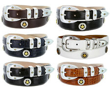 "Presidential Gold Star - Mens Italian Calfskin Designer Dress Belt, 1-1/8"" Wide"