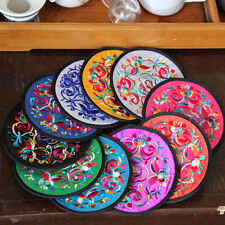 1Pc Handmade Chinese Silk Embroidered Round Cup Mat Pad Coasters Kitchen Tools