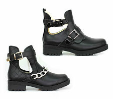 LADIES WOMENS CUT OUT LOW BLOCK HEEL BIKER BUCKLES CHAIN ANKLE BOOTS SHOES SIZE