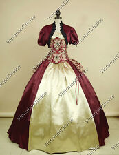 Victorian Dress 4-PC Princess Bustle Ball Gown Theater Reenactment Costume 329