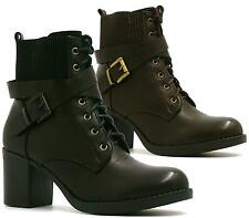 LADIES WORKER ARMY MID HEEL LACE UP MILITARY SHOES CHELSEA ANKLE BOOTS SIZE 3-8