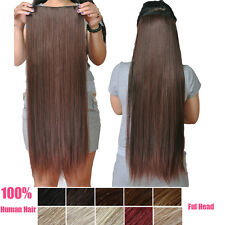 """One Piece Full Head Set Hair Extension Clip In Human Hair Extensions 24"""" 100G"""