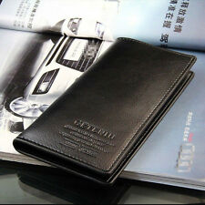 Leather Mens Long Casual Black Wallet Pockets Card Clutch Cente Bifold Purse
