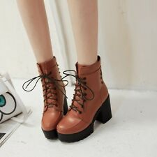 Retro Womens Motor High Chunky Block Heel Lace Up Platform Punk Ankle Boot Shoes