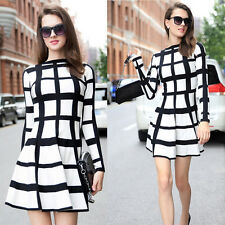 NEW Fashion Women Plaid Long Sleeve Evening Party Mini Dress Cocktail Casual