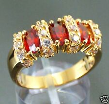 Jewelry Fashion Women's Wedding Ring 10KT Yellow Gold Filled Ruby Size:7/8/9