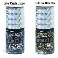 Bedazzled Nail Effects Shimmer Glitter Nail Varnish in Silver or Gold Glitter