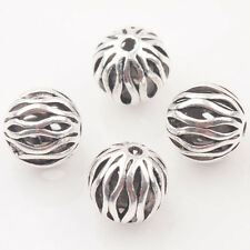 10/20Pcs Tibet Silver Round Watermelon Shape Hollow Out Charming Beads DIY 10mm
