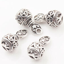 10/20Pcs Tibet Silver Round Charm Hollow Out Peace Pattern Bead Pendant 10*20mm