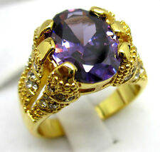 Size:10 11 Men's Nice Jewelry 10KT Yellow Gold Filled Amethyst Ring
