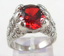 Size:10 11 Men's Nice Jewelry 10KT White Gold Filled Ruby Ring