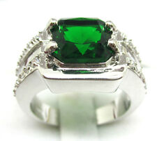 Size:10 11 Jewelry Men's Generous 10KT White Gold Filled Emerald Ring