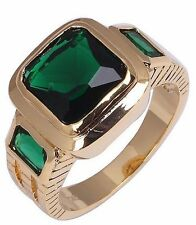Size:10 11 Jewelry Generous 10KT Yellow Gold Filled Men's Emerald Ring