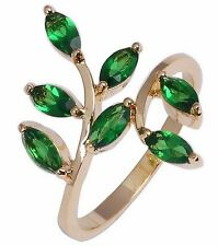 Fashion Jewelry 10KT Yellow Gold Filled Women's Pretty Emerald Ring Size:7 8 9