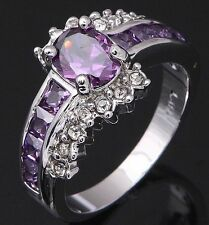Women's Nice Jewelry Charming 10KT White Gold Filled Amethyst Ring Size:7 8 9