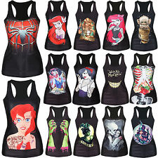 Womens 3D Print Gothic Punk Rock Vest Tank Top Stretch Sleeveless Blouse T shirt