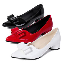 Fashion Office Lady Wedding Chunky Mid HEELS PUMPS Sexy Pointy Toe Bowknot Shoes