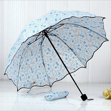 Umbrella Anti UV Sunscreen Rain&Sunny Windproof Strong Lotus leaf umbrella