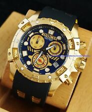 Invicta Mens 48mm Specialty Swiss Chrono 18KT Gold Plated Blue Dial Strap Watch