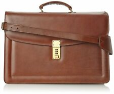 Jack Georges Belting Triple Gusset Leather Briefcase w/Combination Lock