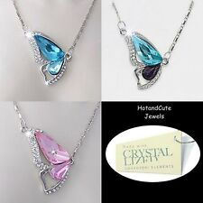 Genuine SWAROVSKI CRYSTALS Butterfly Pendant w 18k Gold Plated Necklace Gift Box