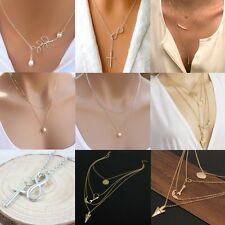 Fashion Charm Statement Chain Pendant Chunky Multilayer Simple Crystal Necklace