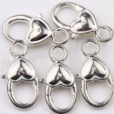 Wholesale 5/20Pcs Tibet Silver Heart Lobster Claw Clasps Charm Findings 27x14mm