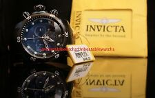 Invicta Mens Reserve Venom Swiss MADE Chrono Blue Dial Black Leather Strap Watch