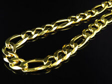 "Yellow Gold Finished Sterling Silver 10MM Figaro Link Chain Necklace 18""-28"""