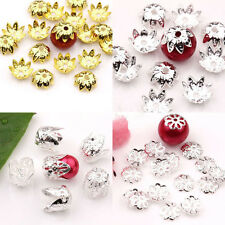 Lots Gold/Silver Plated Flowers Charms Spacer Hollow Bead Caps Jewelry Findings