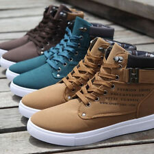 Men's Korean Casual High Top Lace Up Canvas Sneakers Ankle Boots Shoes 4 Colors