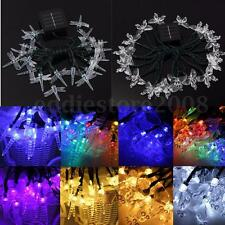 4.8M 20 LED Solar Fairy Light String Dragonfly Butterfly Garden Pathway Party
