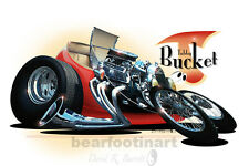 1927 Ford T-Bucket Roadster Automotive Cartoon Car Caricature Art Print