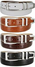 "Mens Genuine Leather Italian Calfskin Sporty Sleek Dress Belt, 1-1/8"" Wide"
