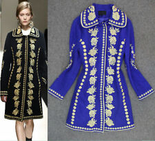 women woolen Gold Line vintage High quality embroidered jacket coat trench park