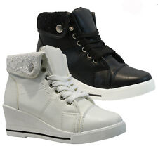 LADIES WOMENS MID WEDGE HEEL LACE UP HI TOP TRAINER ANKLE HIGH BOOTS SHOES SIZE