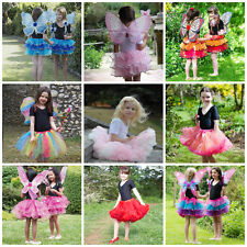Girls Fairy Tutu Outfit Wings Wand Fancy Dress Up Costume Frozen Rosebud Autumn