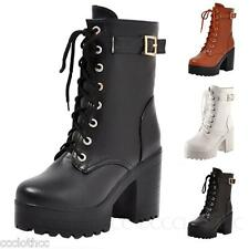 Block heeled Womens Shoes High heels Western Ankle Booties Combat boots Size
